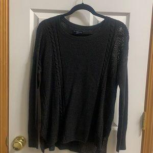 Dark grey sweater. Very comfy and fuzzy.
